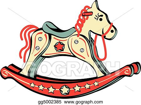 vector illustration rocking horse riding toy clip art eps clipart rh gograph com christmas rocking horse clipart rocking horse image clipart