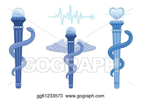 Vector Illustration Rod Of Asclepius And Caduceus Medical Symbol
