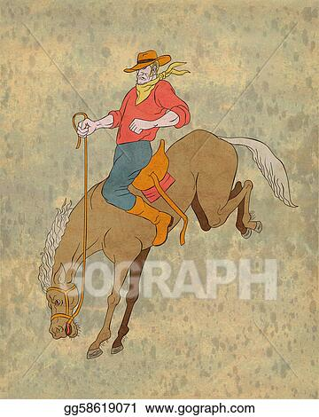 drawings illustration of rodeo cowboy riding bucking horse bronco done in cartoon style stock illustration gg58619071
