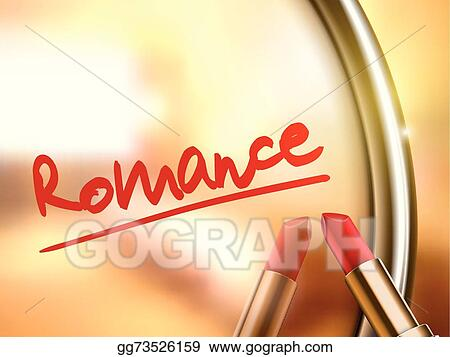 vector art romance word written by red lipstick eps clipart