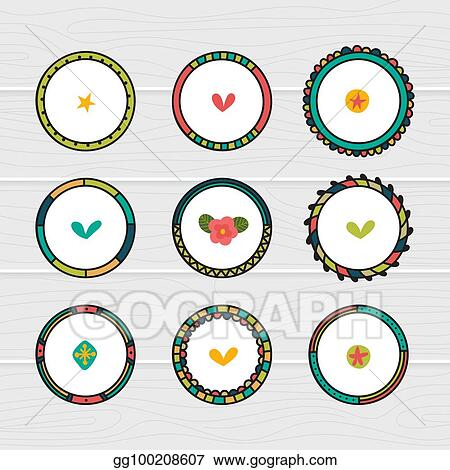 Eps Vector Romantic Collection With Hand Drawn Round Frames