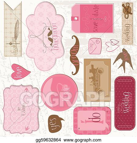 Vector Art Romantic Wedding Tags And Design Elements For