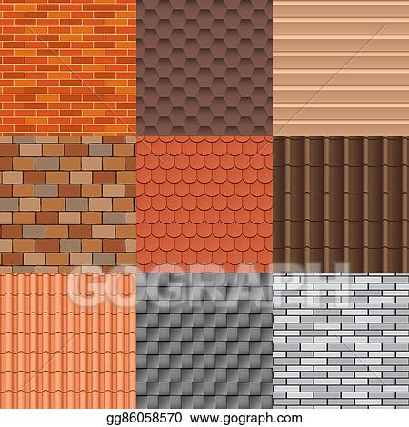 Clip Art Vector Roof Tiles And Roof Texture Vector Set Stock Eps Gg86058570 Gograph