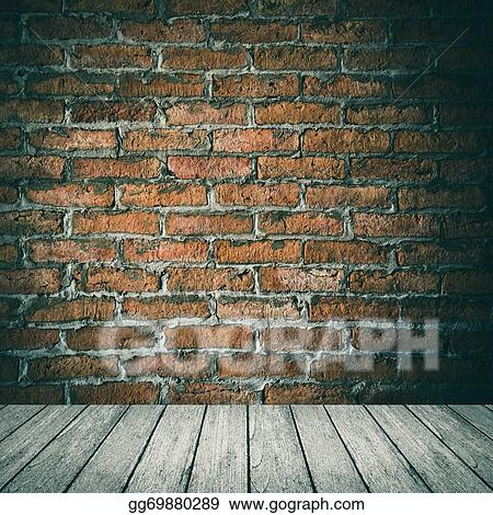 wood floor and wall background. Room Interior Vintage With White Brick Wall And Wood Floor Background G