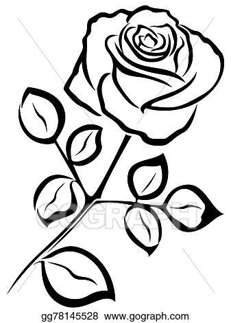 Rose outline. Vector art black clipart