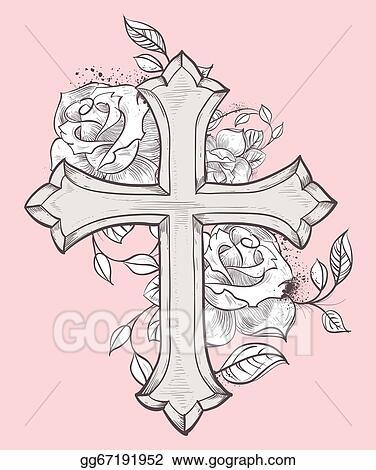Vector Stock Rose Croix Clipart Illustration Gg67191952 Gograph