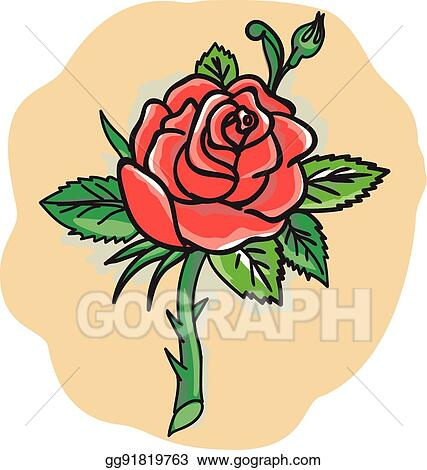 Vector Art Rose Flower Bud Leaves Thorn Tattoo Clipart Drawing