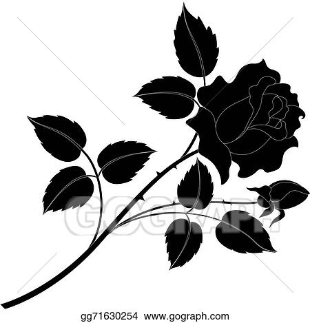 Rose flower silhouettes