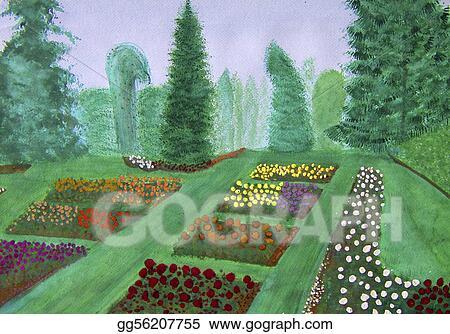 Stock Illustration - Rose garden, portland, oregon watercolor ...