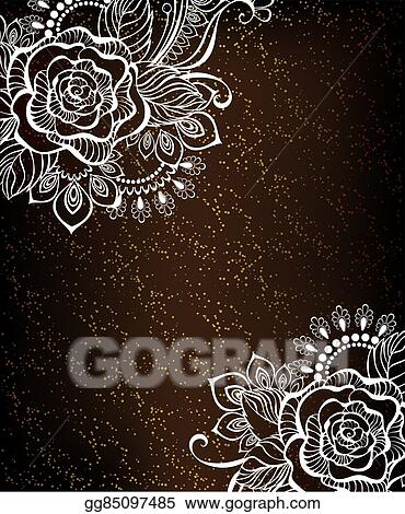 Stock Illustration Rose Painted White Henna Clipart Drawing