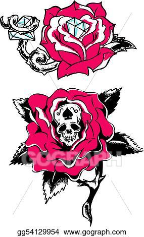 Stock Illustration , Rose skull diamond tattoo. Clipart