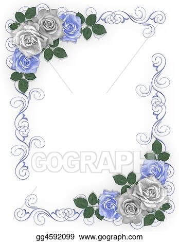Drawings Roses Blue And White Wedding Border Stock Illustration