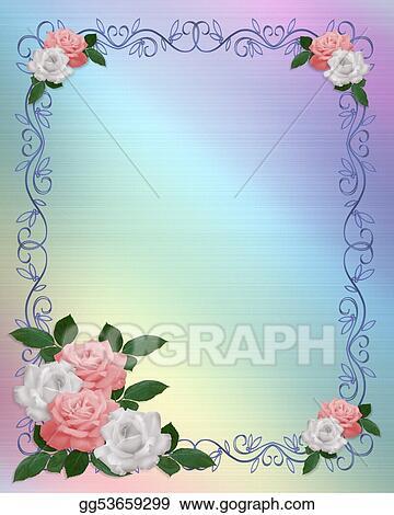 Stock Illustration - Roses border pink white wedding template ...