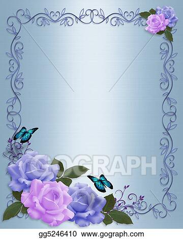 Stock Illustrations Roses Border Wedding Invitation Stock Clipart