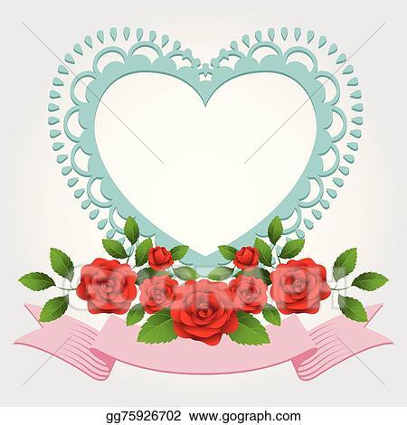 Vector Art - Roses heart-shaped frame, border . Clipart Drawing ...