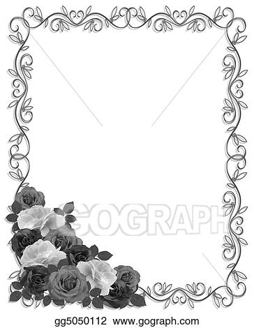 Roses Ornamental Border Black White Gg5050112 on wire art