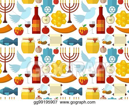 rosh hashanah shana tova or jewish new year seamless pattern with honey apple fish bee bottle torah and other traditional items