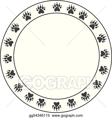 Vector Art - Round bearpaw print border   Clipart Drawing