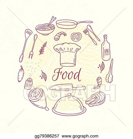 clip art vector round card with outline food icons doodle