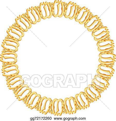846727ecbcbd Vector Illustration - Round frame on a white background - gold chain ...