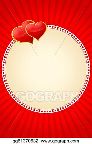 Stock Illustration - Round frame two love hearts. Stock Art ...