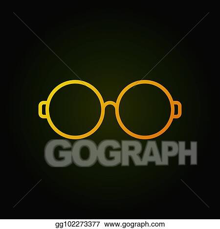 Vector Art Round Glasses Yellow Line Icon On Dark Background