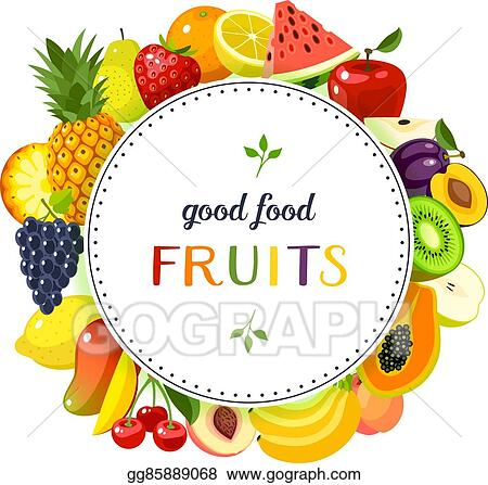 Vector Art - Round label with fruits: apple, strawberry, orange ...