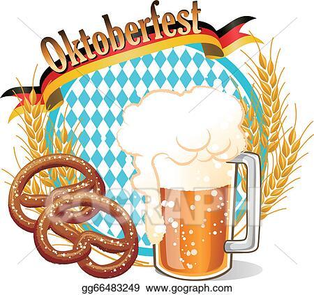 clip art vector round oktoberfest celebration banner with beer