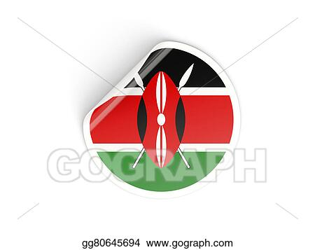 Drawing round sticker with flag of kenya isolated on white clipart drawing gg80645694