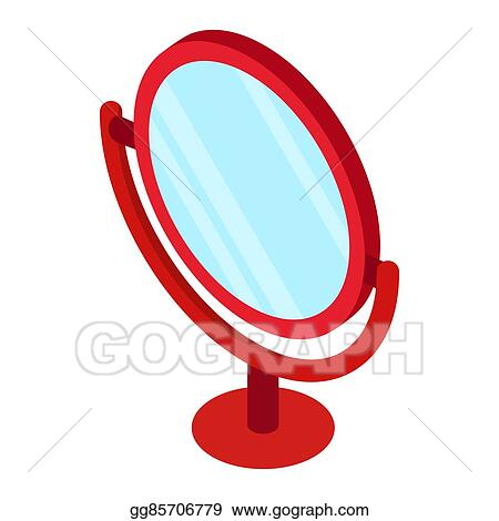 Round Table Mirror Icon, Isometric 3d Style