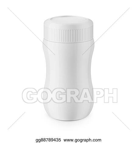 Vector Illustration - Round white glossy plastic jar template. Stock ...