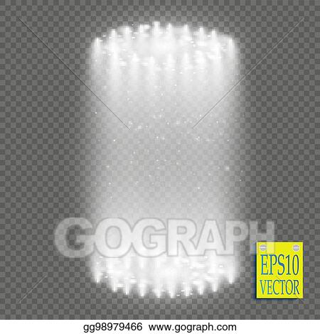 Round White Glow Rays Night Scene With Sparks On Transparent Background Empty Light Effect Podium Disco Club Dance Floor Show Party Beam Stage