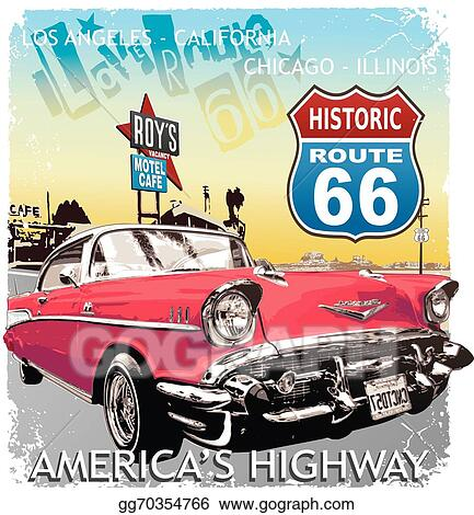 Vector Art Route Classic Car Clipart Drawing Gg GoGraph - Route 66 classic car show