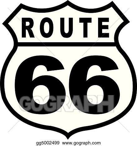 eps vector - route 66 highway sign retro vintage. stock clipart