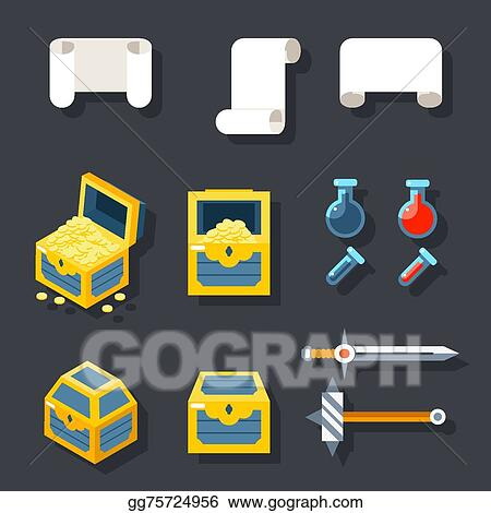 eps vector rpg game accessories icons set scrolls treasure chests