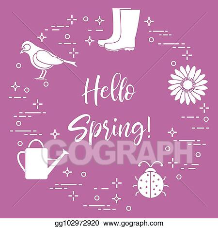 clip art vector rubber boots bird flower watering can ladybug
