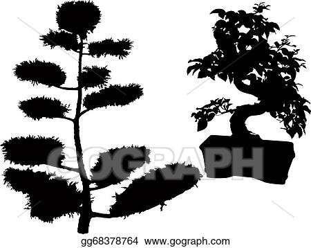 Stock Illustration Rubber Plant Bonsai Trees And Conif Clipart