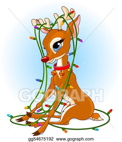 Rudolph Christmas lights - EPS Illustration - Rudolph Christmas Lights. Vector Clipart