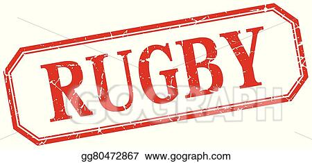 Rugby Square Red Grunge Vintage Isolated Label