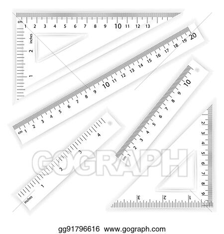 vector art ruler and triangles vector centimeter and inch simple