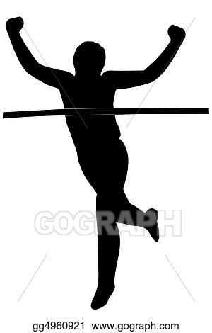stock illustration - runner crossing the finish line. clipart
