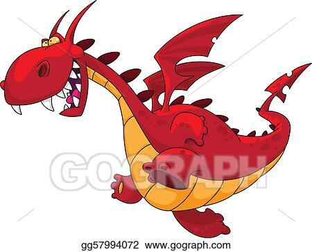 Dragon stock. Eps vector running clipart