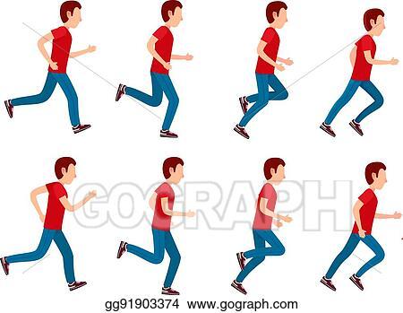 Clip Art Vector - Running man animation sprite set. 8 frame loop ...