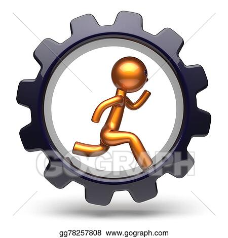 drawing running man character hard work inside gearwheel icon rh gograph com hard work clipart images hard work clipart