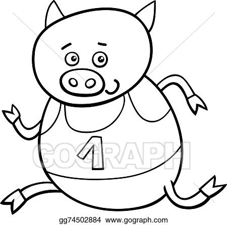 Vector Stock Running Piglet Coloring Page Clipart Illustration