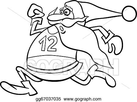 running santa cartoon coloring page
