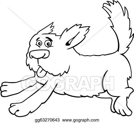 Running Shaggy Dog Cartoon For Coloring