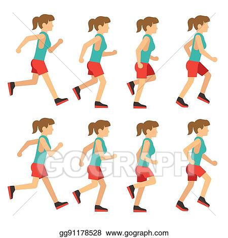 Running Woman Female Runner Animation Frame Loop Sequence