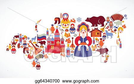 Vector Art Russia map with vector icons Clipart Drawing