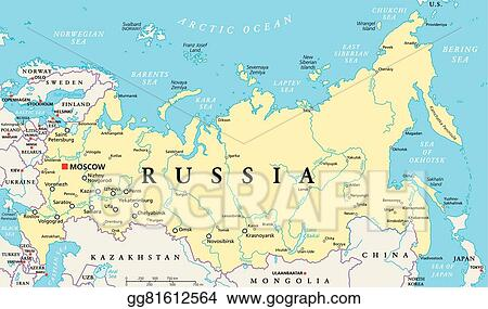 Vector Illustration - Russia political map. EPS Clipart ...